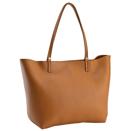 Saddle Tori Tote | Pebble Grain Leather | GiGi New York
