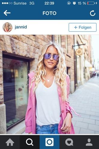 shirt not seetrough white t-shirt baggy shirt chill blonde hair pink jacket sunglasses