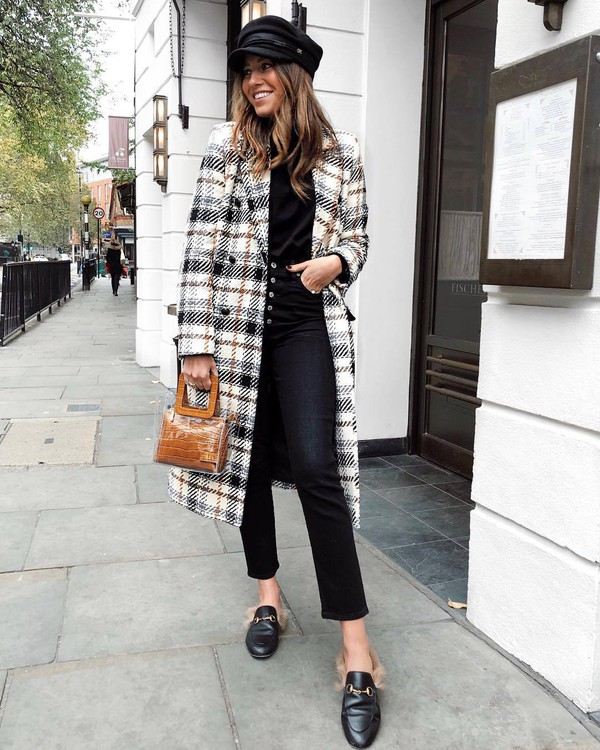 coat wool coat checkered cropped jeans black jeans handbag transparent  bag mules high waisted jeans fisherman cap sweater