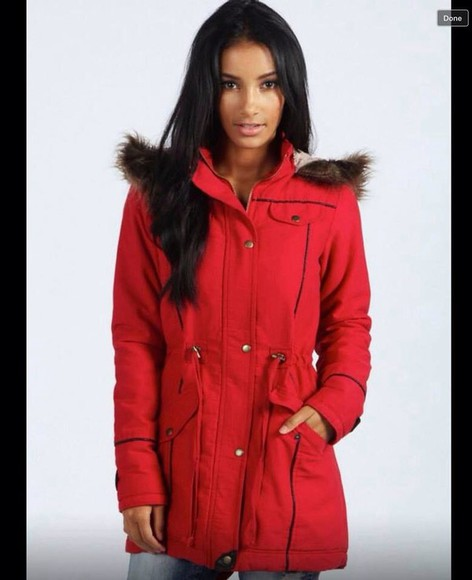 red jacket coat hoodie coat winter outfits winter jacket winter coat