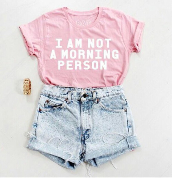 t-shirt High waisted shorts pink shirt