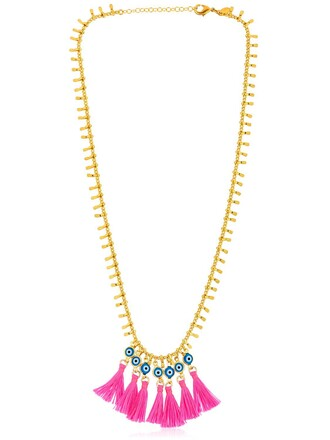 tassel necklace gold pink jewels