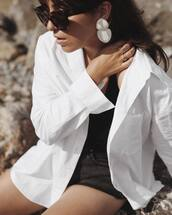 jewels,tumblr,jewelry,accessories,Accessory,statement earrings,earrings,shirt,white shirt,sunglasses