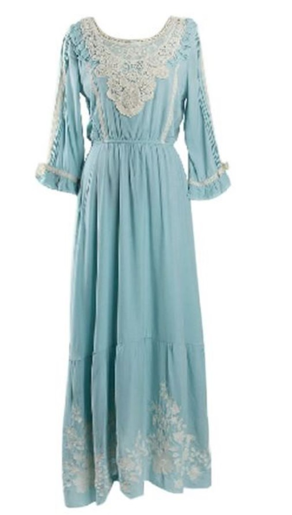 azure blue dress embroidered dress antique look vintage light blue dress www.ustrendy.com