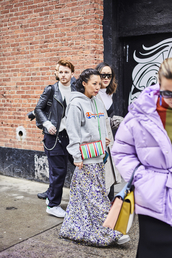 top,nyfw 2017,fashion week 2017,fashion week,streetstyle,champion,hoodie,grey hoodie,skirt,maxi skirt,floral,floral skirt,bag,printed bag