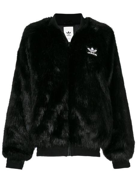 Adidas jacket bomber jacket fur faux fur women black
