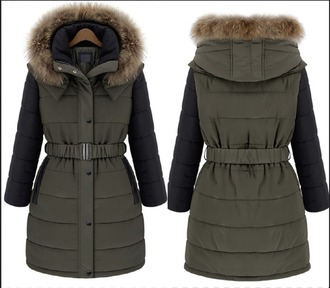 coat hood fall outfits warm stylish puff colorblock 2014