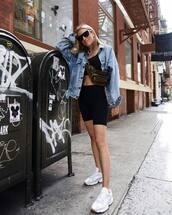 jacket,denim jacket,oversized jacket,white sneakers,shorts,bra,belt bag,sunglasses