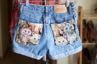 cats shorts denim kitten print pockets denim shorts love cat pockets cute shorts cute kittens kitties high waisted