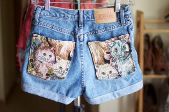 cats shorts highwaisted shorts kitties denim kitten print pockets denim shorts cute love cat pockets cute shorts kittens