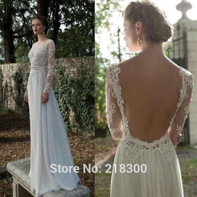 Aliexpress Buy Backless Long Sleeve Lace Wedding Dress Open Back Beach Dresses Destination Bridal Gown