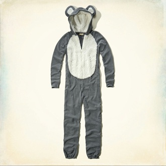 pajamas bear sleepwear ears warm nightwear