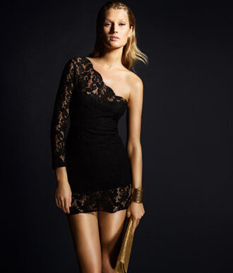 dress black dress lace dress one shoulder bodycon