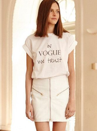 t-shirt leather skirt white leather skirt zipped skirt white t-shirt slogan t-shirts vogue top