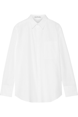 shirt oversized cotton white top