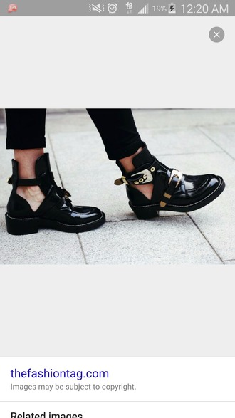 shoes cut out ankle boots boots booties black gold buckles