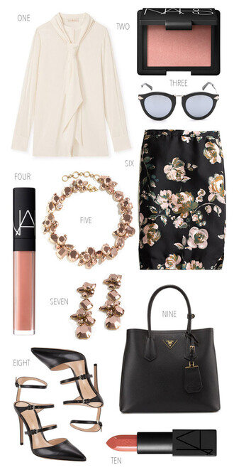 ivory lane blogger blouse sunglasses jewels skirt shoes bag make-up