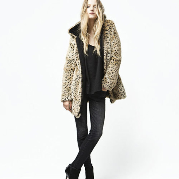 coat sexy leopard print zip