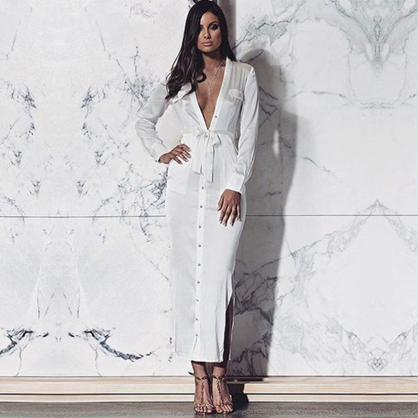 9d455b83bda dress long sleeves long sleeve dress summer lovesadores maxi dress white  white dress celebrity style celebrity