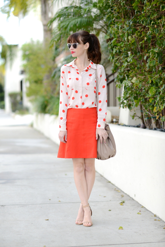 m loves m blogger red skirt polka dots
