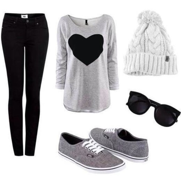 grey sweater blouse shoes hat jeans sweater sunglasses tumblr pom pom beanie grey heart black gray sweater beanie vans comfy