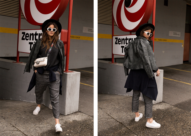the fashion fraction blogger jacket sweater pants bag shoes hat sunglasses white sneakers white bag blazer grey pants
