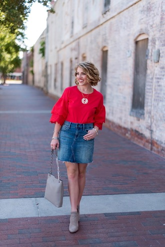 something delightful blogger t-shirt skirt shoes bag jewels booties red top denim skirt