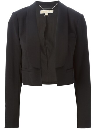 blazer cropped women spandex black jacket