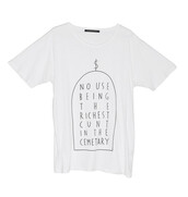 shirt,white,boy,menswear,quote on it,minimalist,no,use,being,the,richest,cunt,in,cemetary,clothes,money,cash,picture,drawn,lines