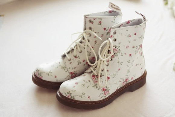 combat boots shoes white combat boot floral