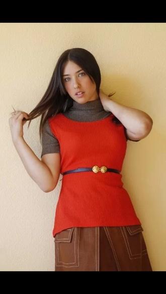 blouse orange blouse fashion vintage top tank top