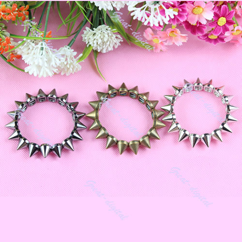 Women Vintage Spike Stud Rivet Bangle Bracelet Stretch Gothic Punk Rock Biker | eBay