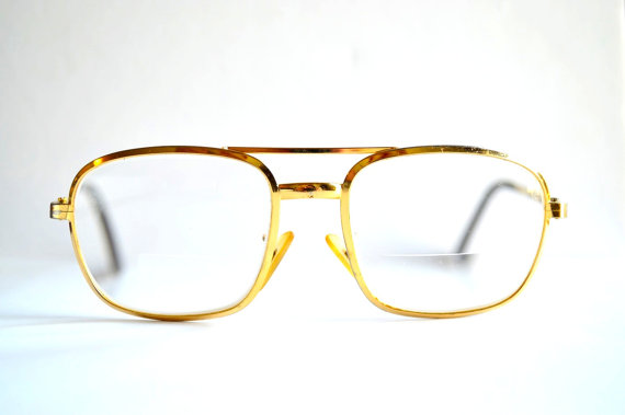70s grandpa gold eye glasses  metal frames by vintagegrime on etsy