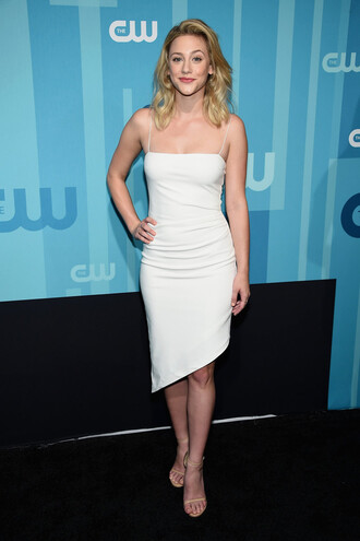 dress asymmetrical asymmetrical dress white white dress lili reinhart summer dress sandal heels sandals
