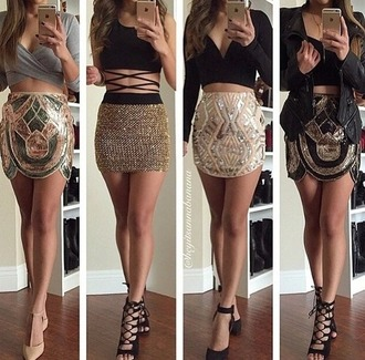 skirt cute top crop tops cute high heels cute skirt black top beaded instagram party clubwear jewels fashion style pretty stylish