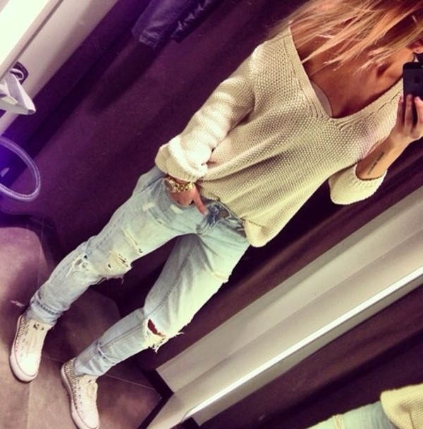 sweater jeans blue jeans pullover knitted sweater knitwear jeans blue wow clothes ripped jeans boyfriend jeans ripped jeans