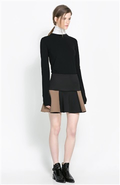 Mini Skater Skirts In Textured Colourblock - Skirts - OuterInner.com