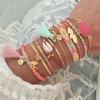 jewels jewelry bracelets stacked bracelets delicate pink beaded gold pretty tassel accessories accessory