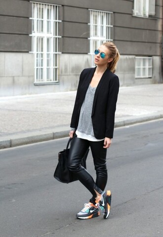 shoes grey sweater black blazer leather pants nike sneakers blogger