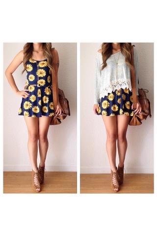 Sunflowers sleeveless dress