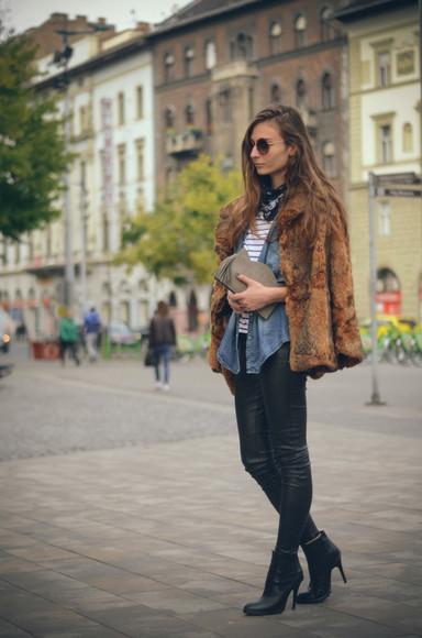bag round sunglasses venka vision blogger scarf faux fur jacket denim shirt pouch