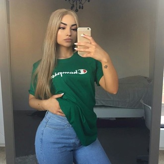 t-shirt iphone champion green dark green champion hoodiee t shirt print baggy t shirt women t shirts teenagers teen girl teen clothing women women tshirts shirt womens clothing