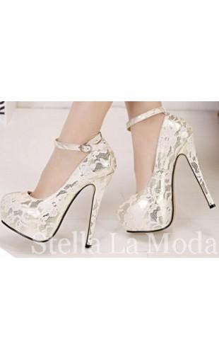 Round toe rubber lace stiletto high heel pumps