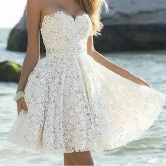 dress white elegant elegant dress white dress flowers cute dress short dress event wedding dress