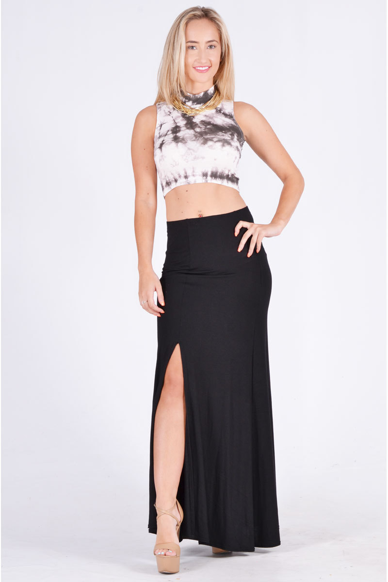 Black Long Skirt - Black Maxi Slit Skirt | UsTrendy