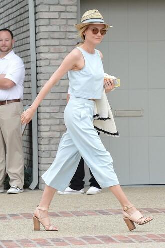 pants top wide-leg pants diane kruger crop tops summer sandals