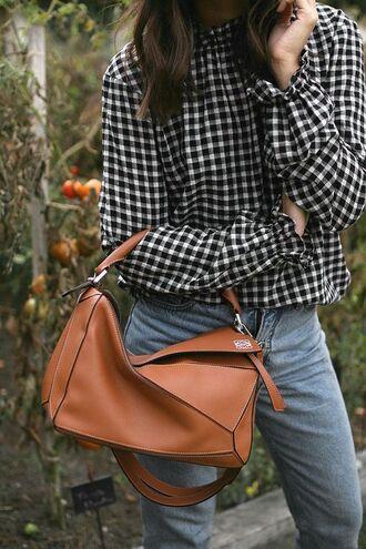 shirt jeans brown bag tumblr checkered checkered shirt denim black jeans bag loewe bag