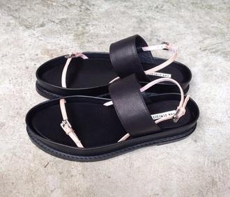 shoes sandals black platform flat chunky