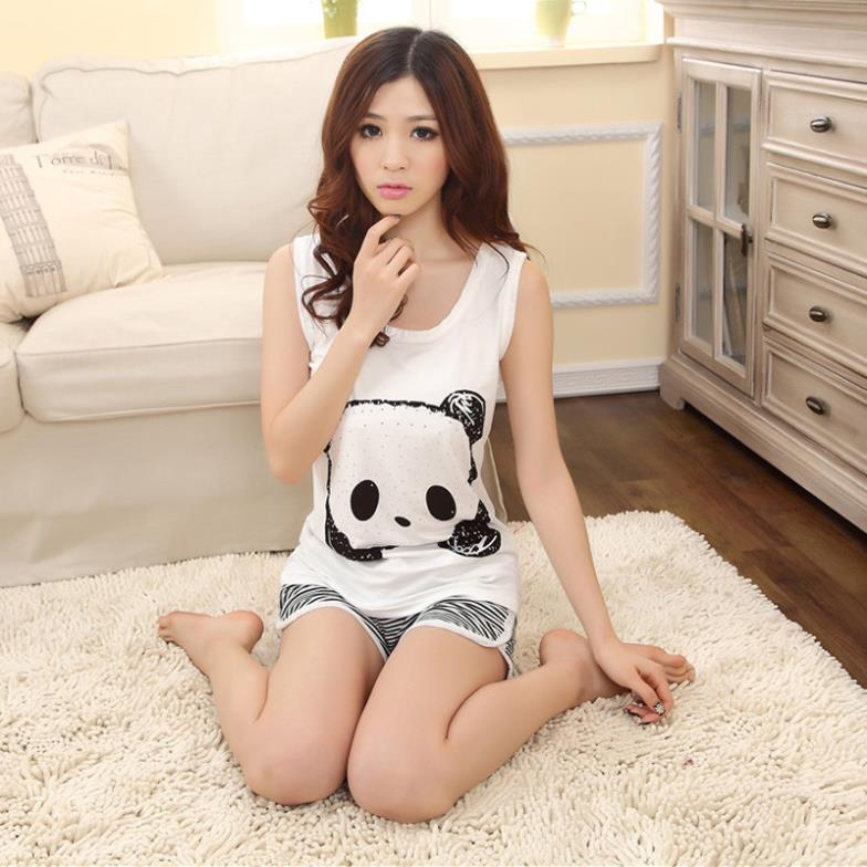 Free Shipping 2014 New Arrival Cute Panda Printed Nightgown Milk Silk Summer Lingerie Sleepwear Cartoon Casual Pajamas-in Pajama Sets from Apparel & Accessories on Aliexpress.com