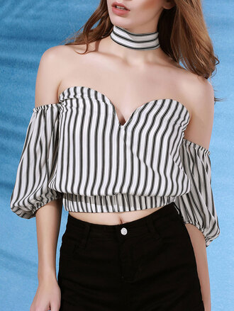 top summer spring girly stripes crop tops strapless zaful off the shoulder